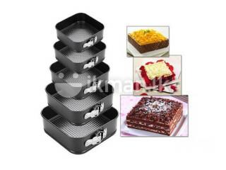 5 Pcs Cake Baking Mould Tray (Square Shape ) - Black COLOMBO 10