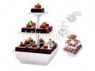 3 Tier Snack Server Square Shape Party Supplies Cake Stand