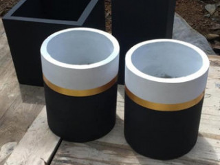 Highly durable black titanium planters .square and cylinder pots