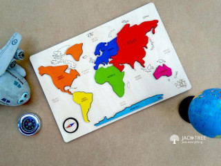 Wooden World map Puzzle Made in Sri Lanka