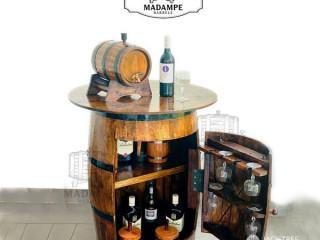 Vintiquewise Wooden Rustic Barrel Storage cabinet