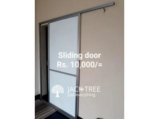 Sliding door, light fittings