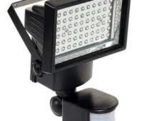 60 LED Solar Security Lamp with PIR-Black+Silver