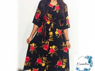 Camelia Black Floral Midi Dress