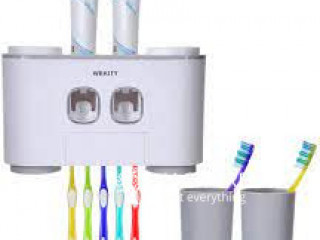 Safe & Clean Toothbrush Holder and Toothpaste Dispenser